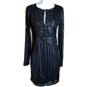 piperlime cocktail dress black sequin long sleeve